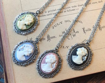 Cameo Lady Pendant Necklace in Silver- Pick a Color
