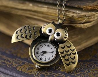 Owl Watch Necklace  in Brass