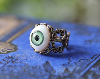 Green Eye Ring in Antiqued Silver or Brass Vintage Style Adjustable Band