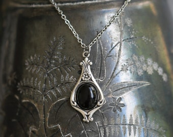 Black Onyx Stone Victorian Pendant Necklace - Choose from Semi-Precious Stones and Shells in Antiqued Silver or Brass