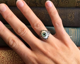 Eye Ring - Vintage Style - Adjustable - Green Blue or Brown