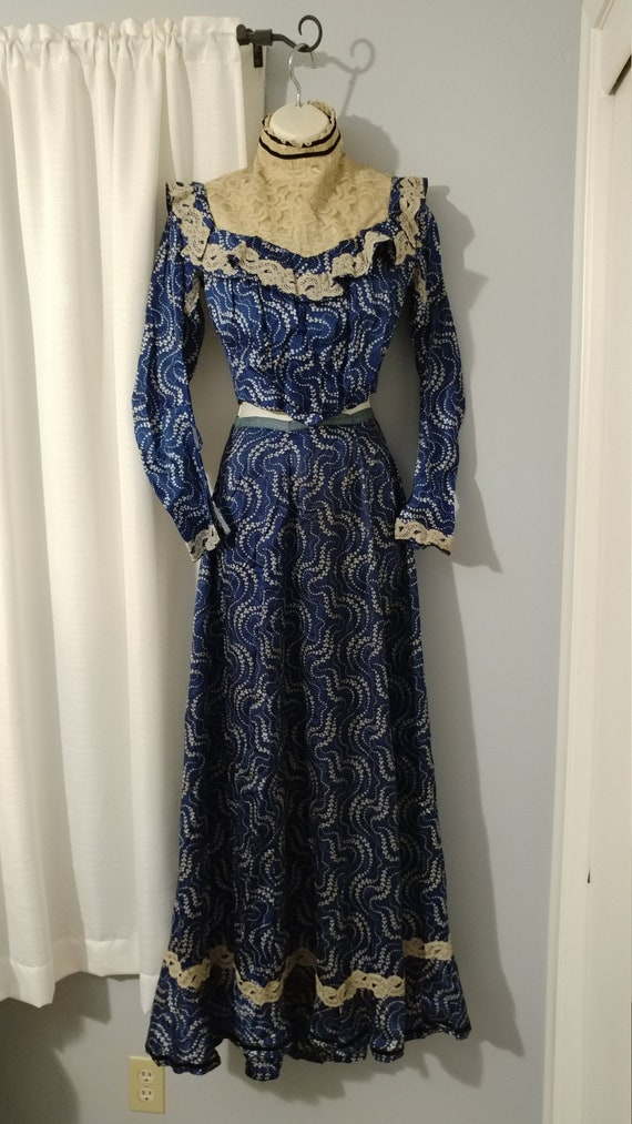 Antique 1900s Edwardian Printed Silk Two Piece Dre