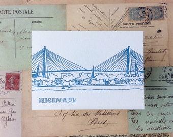 Charleston - five letterpress postcards