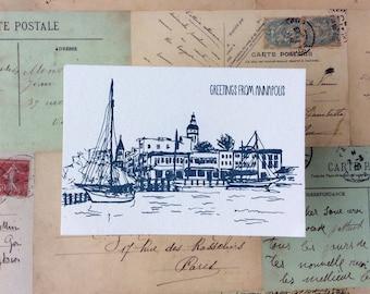 Annapolis - five letterpress postcards