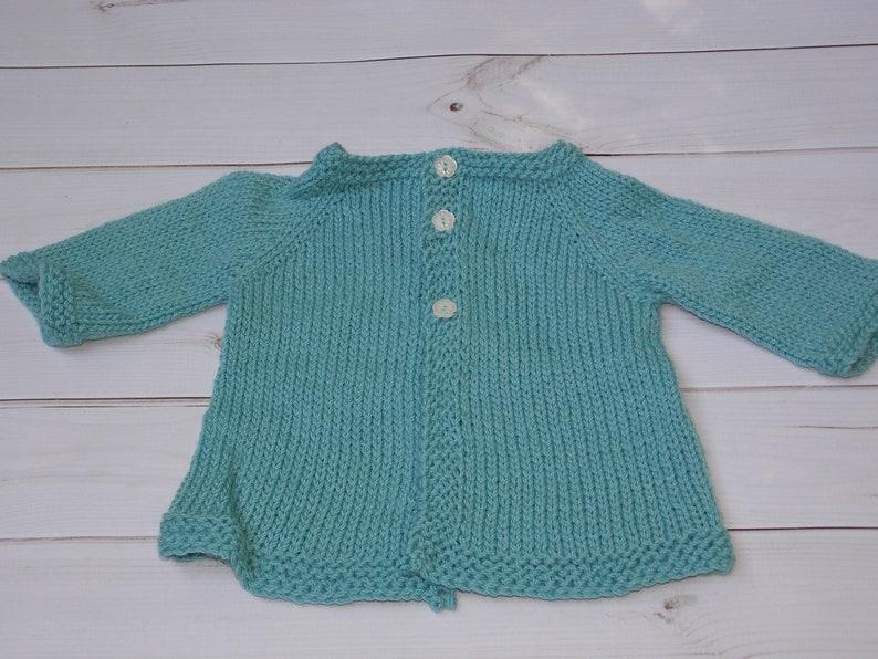 hand knit from Australian wool pale light teal baby girl cardigan sweater newborn infant jumper 0-3 months