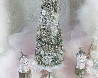 jeweled christmas tree vintage rhinestone jewelry christmas tree tree of treasures diamond rhinestones holiday decor - Jeweled Christmas Trees