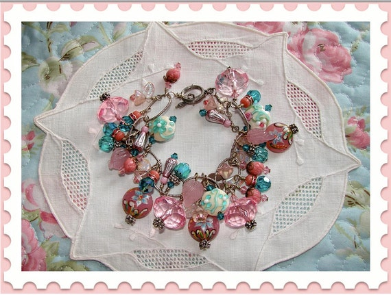 Lampwork Glass Bead For Beading /& A Charm Bracelet Pink With Swirls /& Flowers