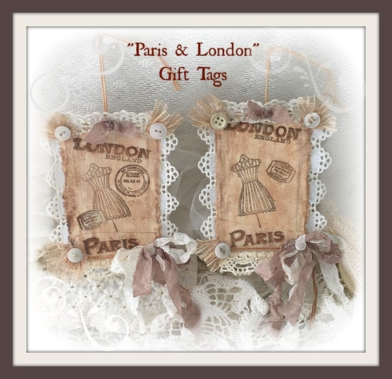 Vintage Inspired Favor Tags Handstamped Gift Tags Cottage Chic Gift Tags Handmade Paper Present Tags Admit One Ticket Gift Tags