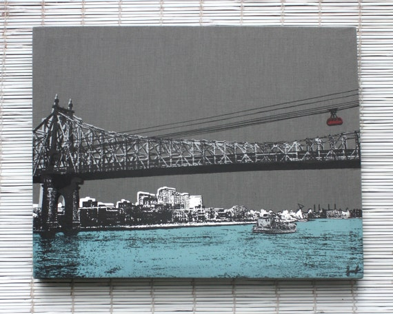NYC Skyline 59th Street Bridge Wall Hanging On Stretched
