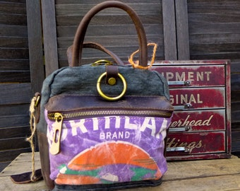 Northland Brand Seed - Minnesota - Mini Satchel Ring Backpack Crossbody Handbag- Americana Farm Vintage Seed Feed Sugar Sack