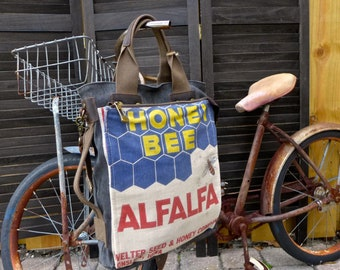 Honey Bee Seeds - Onslow Iowa - Americana Vintage Seed Feed Sack Book Tote- OOAK Canvas & Leather Tote... Selina Vaugha