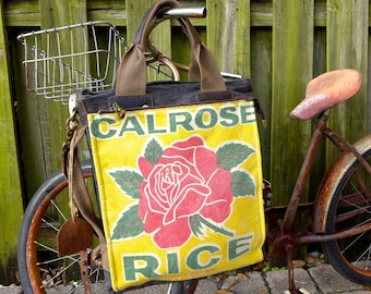 Calrose Rice  - Americana Vintage Seed Feed Sack Book Tote W- OOAK Canvas & Leather Tote... Selina Vaughan