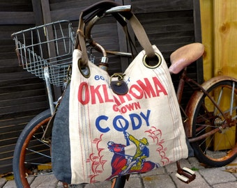 Oklahoma Cody - horse - Open Tote - Americana Vintage Original Seed Sack Upcycle  Canvas & Leather Tote... Selina Vaughan