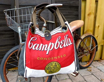 Campbells Soup Vintage Apron - Open Tote - Americana Vintage Original Seed Sack Upcycle  Canvas & Leather Tote... Selina Vaughan