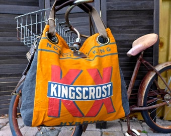 Kingkrost Northrup Seed Corn - Minnesota - Open Tote - Americana Vintage Original Seed Sack Upcycle  Canvas & Leather Tote... Selina Vaughan
