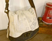 Cinncinati Seamless - Industrial Grunge, patched-  Vintage Seed Sack Courier Zipper Tote - Americana Canvas & Leather Tote... Selina Vaughan