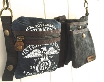 284b441f4f00 CASE IH Eagle Logo - Blue - Convertible Belt Waist Bag Vintage seed sack W-  Americana OOAK Canvas   Leather Bag Selina Vaughan Studios