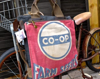 Co-Op Farm Seeds - Americana Vintage Seed Feed Sack Book Tote- OOAK Canvas & Leather Tote... Selina Vaugha