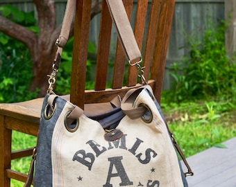 Bemis Seamless A - Open Tote - Americana Vintage Original Seed Sack Upcycle  Canvas & Leather Tote... Selina Vaughan