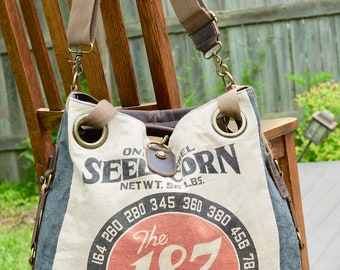 The 187 Hybrid Seed Corn - Open Tote - Americana Vintage Original Seed Sack Upcycle  Canvas & Leather Tote... Selina Vaughan