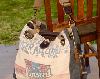 Spencer Kellogg Linseed Oil Mash  - Open Tote - Americana OOAK Canvas & Leather Tote... Selina Vaughan Studios