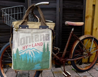 Montana Hy-Land - Americana Vintage Seed Feed Sack Book Tote W- OOAK Canvas & Leather Tote... Selina Vaugha