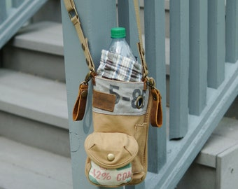 Vintage Seed Sack convertible Waist/Bottle Holder w/Telephone Pocket on back - One Piece- Americana OOAK Canvas Bag Selina Vaughan Studios