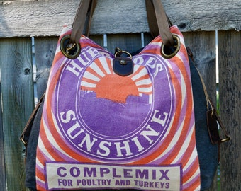 Hubbard Sunshine Feed - Mankato MN - Open Tote - Americana Vintage Original Seed Sack Upcycle  Canvas & Leather Tote... Selina Vaughan