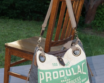 Produlac Corn Distillers Mash- Open Tote - Americana Vintage Original Seed Sack Upcycle  Canvas & Leather Tote... Selina Vaughan