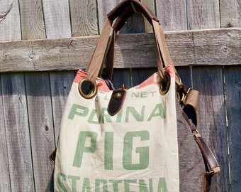 Purina Pig Startena - Open Tote - Americana Vintage Original Seed Sack Upcycle  Canvas & Leather Tote... Selina Vaughan