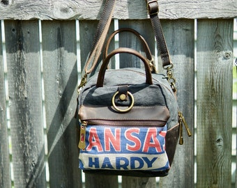 Kansas Hardy Alfalfa - Mini Satchel Ring Backpack Crossbody Handbag- Americana Farm Vintage Seed Feed Sugar Sack