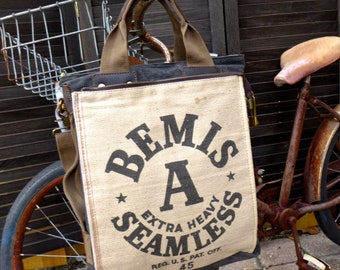Bemis Seamless A Seeds - Illinois - Americana Vintage Seed Feed Sack Book Tote W- OOAK Canvas & Leather Tote... Selina Vaugha