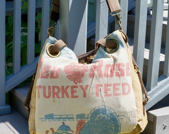 Eschelman Red Rose Turkey Feed Landcaster, PA - Open Tote - Americana OOAK Canvas & Leather Tote... Selina Vaughan Studios