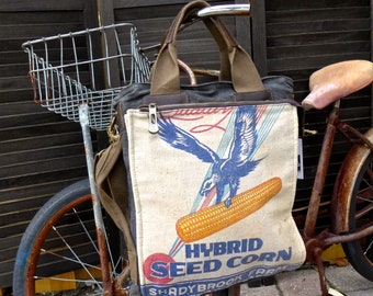 Shadybrook Eagle Farm Seed Corn - Illinois - Americana Vintage Seed Feed Sack Book Tote- OOAK Canvas & Leather Tote... Selina Vaugha