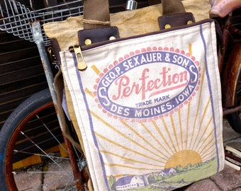 Perfection Sexauer Alfalfa Seed -Des Moines Iowa - Americana Vintage Seed Feed Sack Book Tote W- OOAK Canvas & Leather Tote... Selina Vaugha