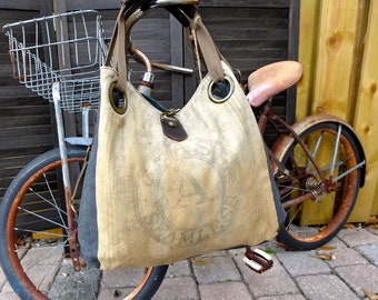 CHASE A Seamless - Industrial grunge - Open Tote - Americana Vintage Original Seed Sack Upcycle  Canvas & Leather Tote... Selina Vaughan