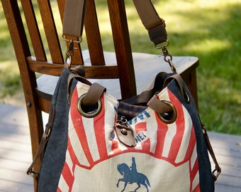 Wayne Feed - Open Tote - Americana Vintage Original Seed Sack Upcycle  Canvas & Leather Tote... Selina Vaughan
