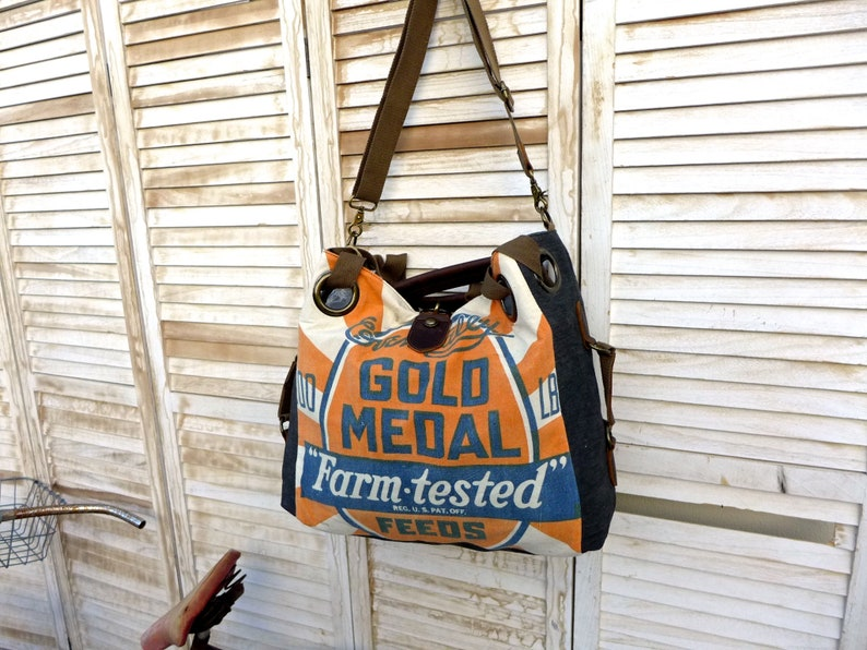Open Tote Selina Vaughan Americana Vintage Original Seed Sack Upcycle  Canvas /& Leather Tote.. Gold Medal Farm Tested Seeds