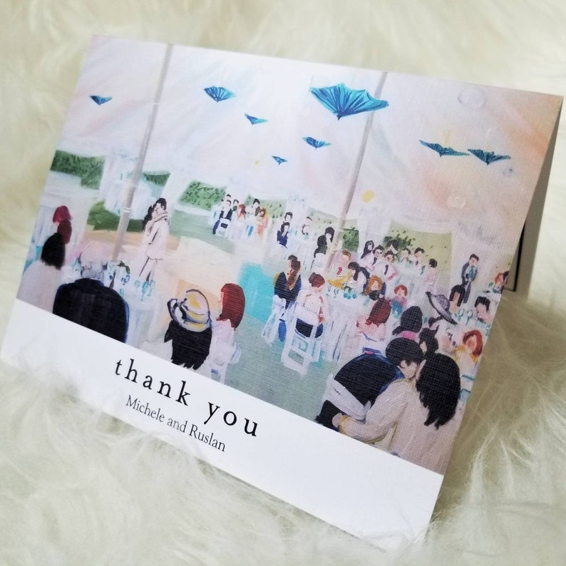 Thank you cards/ custom cards/ Wedding painting/ wedding image 0