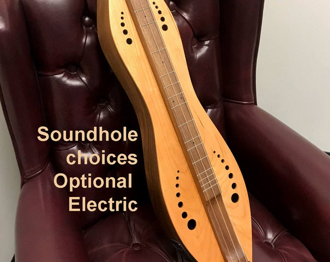 Bass Dulcimer - Cherry over Walnut 3 or 4 string Hour-glass with sound-hole choices and optional Electric,   Item# CW008BS