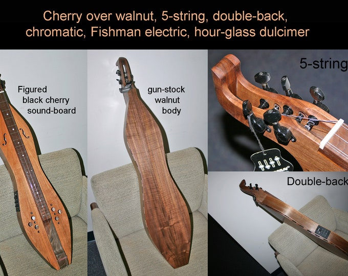 New Chromatic Hour-glass Mountain Dulcimer, with Optional Fishman Electric, Double-Back, and Strings