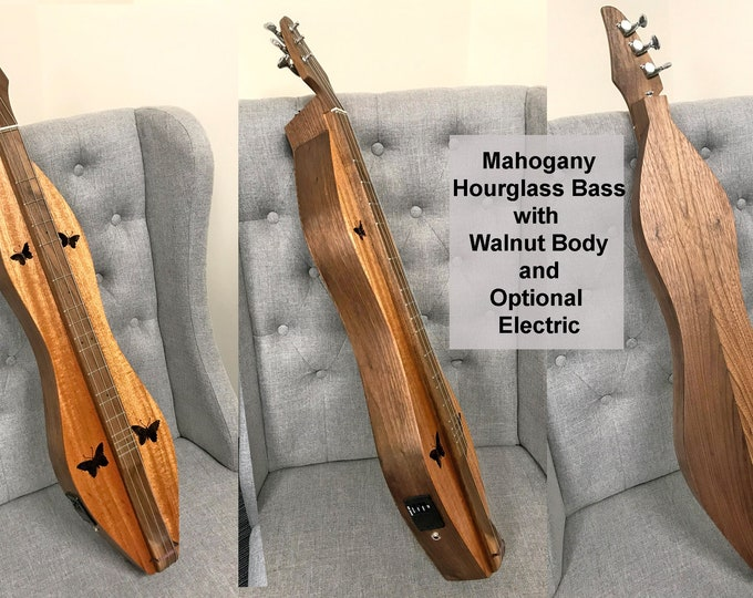 New Bass Hourglass Dulcimer 3 or 4 string Walnut with Soundboard, Fretboard, and Electric Options (Case Included): Item# BASSHG001