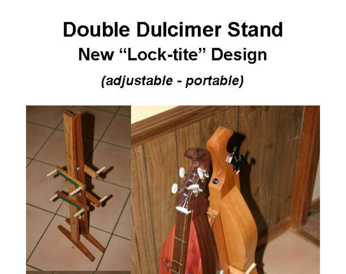 New Mountain Dulcimer Double Stand with Optional Music Clipboard and Guitar-Ukulele, or Scheitholt Support. Item# CHD023