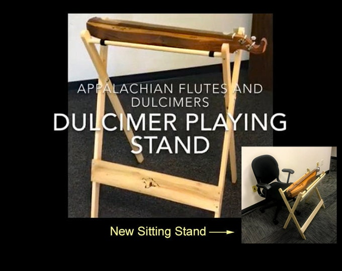 Adjustable Mountain Dulcimer Playing Stand with optional Antique finish. Includes iPad, Tablet, or Notebook support. Item# CHPS025