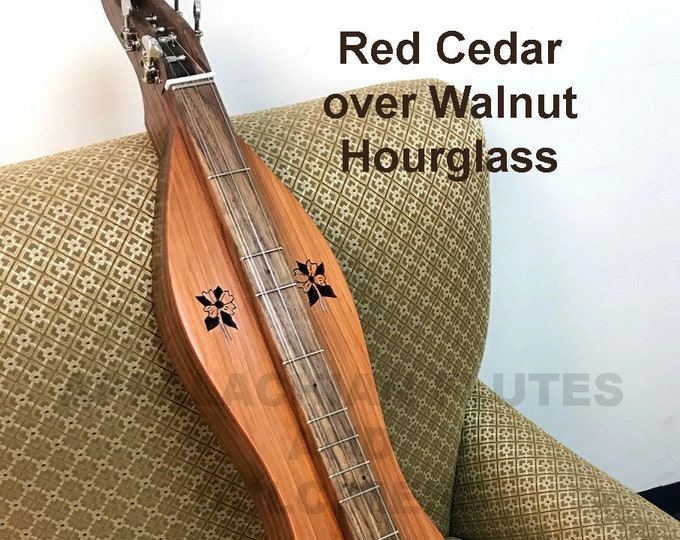 Ready to Ship - Red Cedar over Walnut 4-string Hour-glass Mountain Dulcimer. With, or without Electric. Item# RCW004b