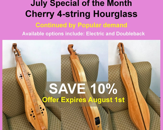 Cherry 4-string Mountain Dulcimer, Custom Case and Optional Electric and Double-back. Item# CC010
