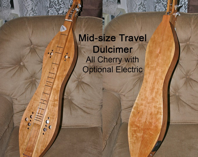 Mid-size Travel Dulcimer - Cherry 3 or 4-string, with Case and Optional Electric