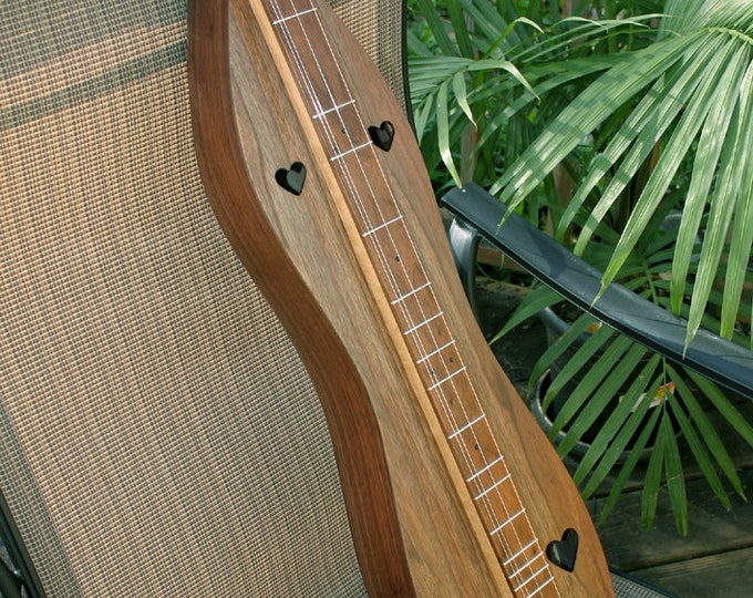 Walnut Hourglass Mountain Dulcimer, Optional Electric, Standard or Baritone, Case, Accessory Kit, and choice of soundholes. Item# WHG001