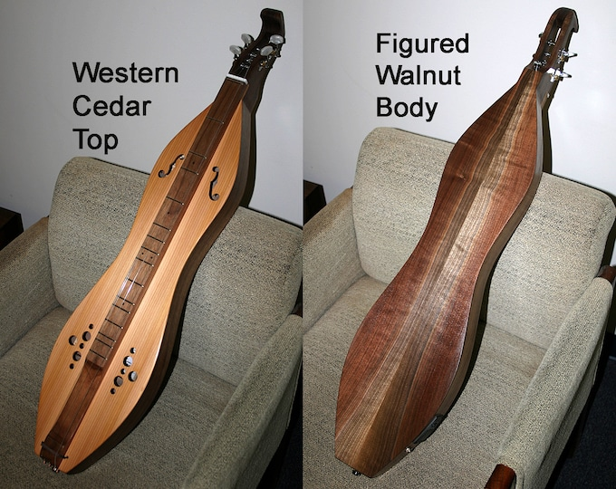 Western Cedar over Walnut Mountain Dulcimer. Standard, Baritone, or Bass, with optional Electric. Item# WCW002