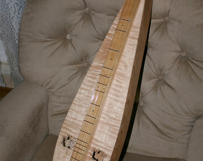 Custom Four-string Virginia Tear-drop Mountain Dulcimer, with Beautiful Curly Maple Sound-board and optional Electric